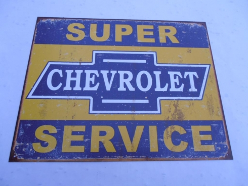 Chevy Service Aged Printing Tin Sign