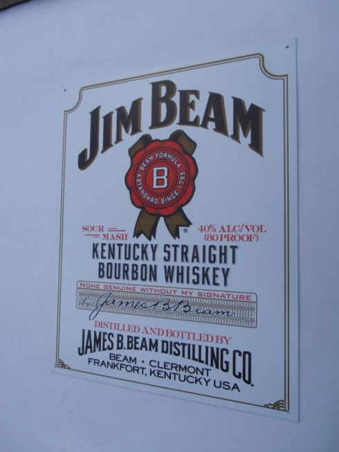 Jim Beam Bourbon Advertising Tin Sign