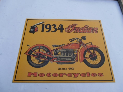 Indian 1934 Motorcycle Tin Sign