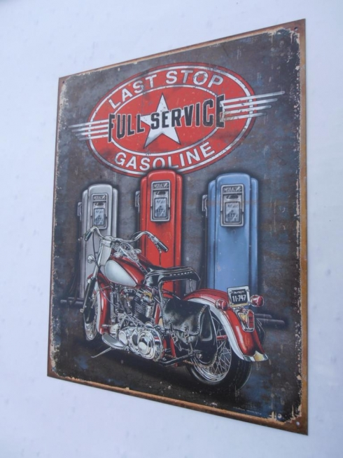 Last Stop Gas Tin Sign