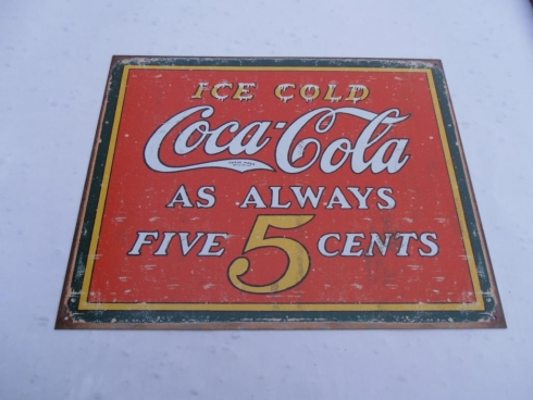 Ice Cold Coke 5 Cents Advertising Sign