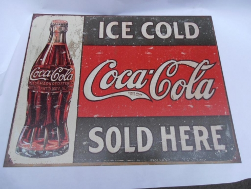 Coke Sold Here Advertising Metal Sign