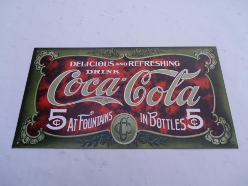 Coke 5 Cents Retro Old School Tin Sign