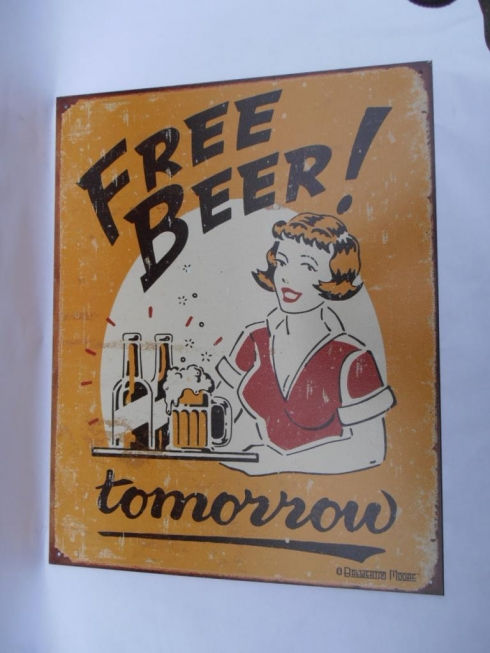 Free Beer Beerania Tin Sign