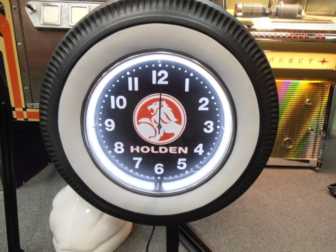 Holden White Wall Tyre Clock Neon